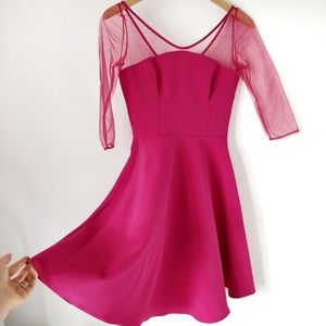 Nha Khanh Pink Fit and Flare Tulle Sleeve Dress